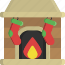 chimney, christmas, fireplace, house, socks, warm, winter icon