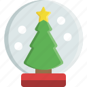 christmas, christmas tree, decoration, globe, ornament, snow, snowglobe icon