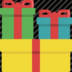christmas, christmas tree, gift, present, ribbon, santa claus, surprise icon