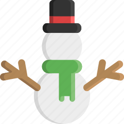 christmas, cold, scarf, snow, snowman, top hat, winter icon