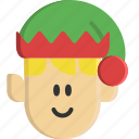 christmas, elf, fantasy, hat, helper, people, santa claus icon
