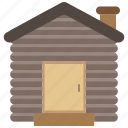 architecture, building, home, house, log, winter, wood icon