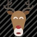 xmas, face, animal, christmas, reindeer, avatar, deer