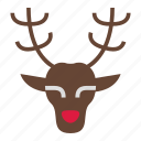 christmas, deer, holiday, merry, reindeer, rudolph, xmas icon
