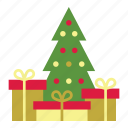 christmas, christmas tree, gifts, holiday, pine, tree, xmas icon