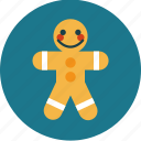 christmas, cookie, gingerbread man, treat icon