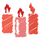 birthday, candle, celebration, christmas, fire, light, scribble icon