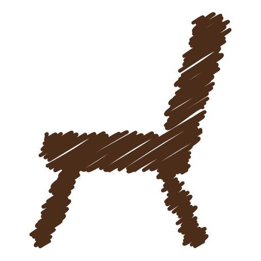 arm, chair, furniture, office, school, scribble, wood icon
