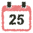 25, calendar, christmas, december, event, schedule, scribble icon