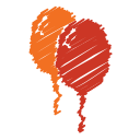 balloon, baloon, birthday, orange, party, red, scribble icon
