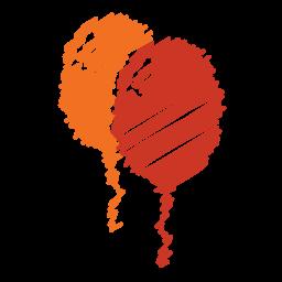 balloon, baloon, birthday, orange, party, red, scribble icon