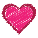 bookmark, favorite, heart, like, love, red, scribble icon