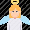 angel, halo, innocent, wing, woman icon