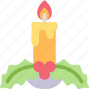 berry, candle, fire, flame, leaf, lighting icon