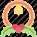 bell, berry, circle, decor, leaf, wreath icon