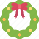 christmas, decor, decoration, occasion, ribbon, wreath icon