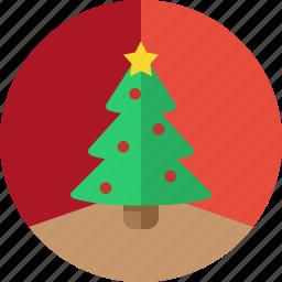 christmas, christmas tree, circle, decoration, holiday, tree, xmas icon