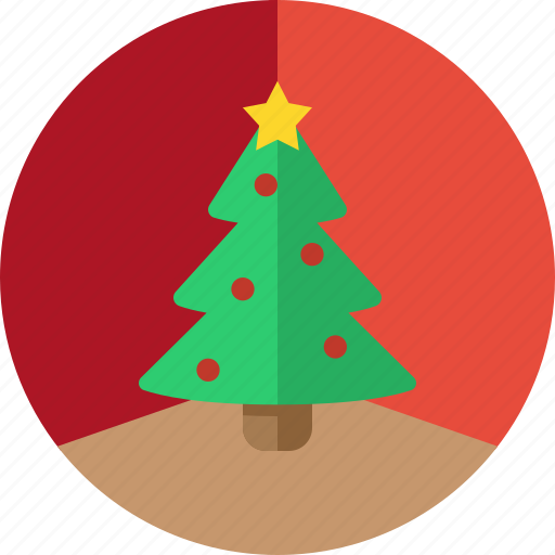 Christmas Christmas Tree Circle Decoration Holiday Tree Xmas Icon
