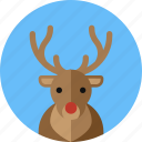 christmas, deer, horn, moose, reindeer, rudolph icon