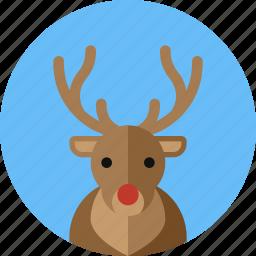 christmas, deer, horn, moose, reindeer, rudolph icon