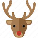 christmas, deer, horn, moose, red nose, reindeer, rudolph icon