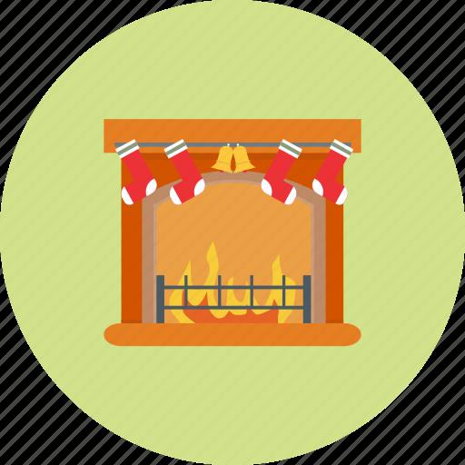 christmas, decoration, fireplace, holiday, snow, winter, xmas icon