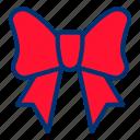christmas, red, ribbon icon