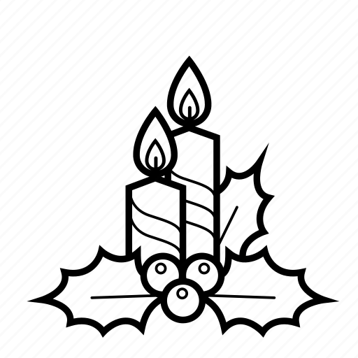 candles, christmas, decoration, fire, holiday, holly, mistletoe icon