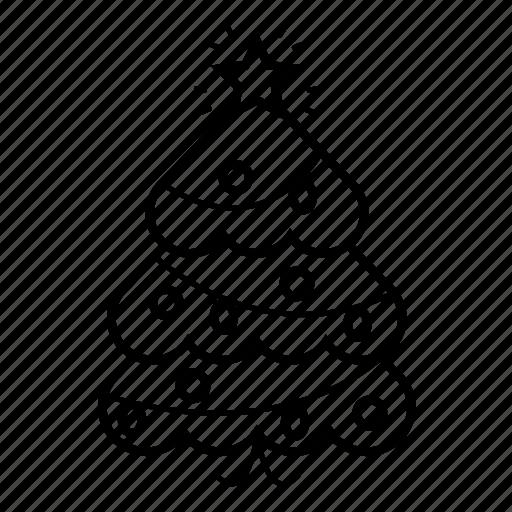 christmas, christmas tree, decoration, ornament, star, tree icon
