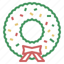 christmas, decoration, wreath, xmas icon