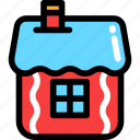 christmas, gingerbread, house, newyear icon