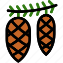 christmas, cones, newyear, pine icon