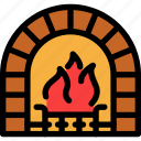 christmas, fire, fireplace, newyear icon