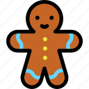 christmas, gingerbread, man, newyear icon