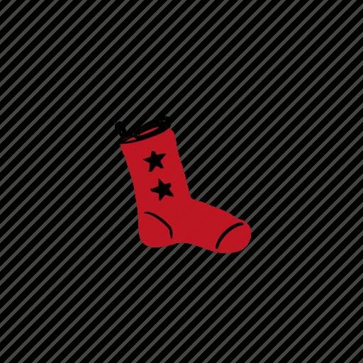 christmas, hand drawn, holidays, sock, stars icon