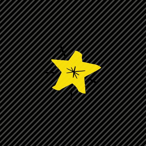 golden star, hand drawn, shine, sparkling icon