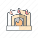 christmas, fireplace, flame, new year, xmas icon
