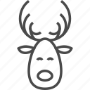 animal, antler, deer, horn, reindeer, santa, wild icon