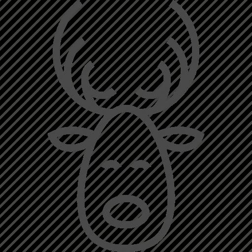 animal, antler, deer, horn, reindeer, santa, wild icon
