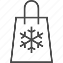 bag, retail, sale, shop, shopping, snowflake, winter icon