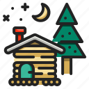 building, cabin, christmas, home, house, property, real