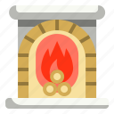 fire, fireplace, home, household, living, room, winter icon