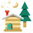 cabin, christmas, estate, home, house, property, real icon