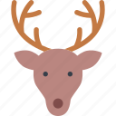 animal, celebration, christmas, deer, holiday, reindeer, winter icon