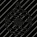 christmas, christmas ball, christmas decoration, december 25th, decoration, snowflake, xmas decoration icon