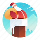 chimney, claus, going, man, people, santa icon