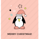 christmas animal, christmas penguin, holiday penguin, penguin icon