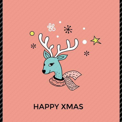 animal face, christmas reindeer head, deer head, reindeer face, reindeer head icon
