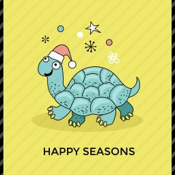 christmas holiday, christmas turtle, funny xmas, santa turtle, sea turtle icon