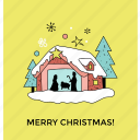 celebration, christmas card, christmas house, holiday decoration, merry christmas icon
